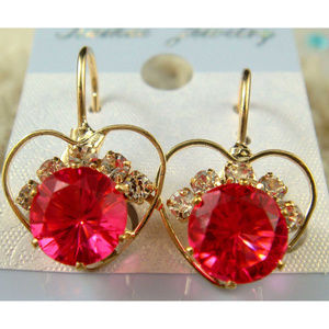 Gold Plated pink Czech Crystal heart Earrings